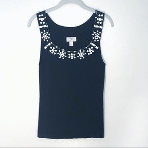 Loft sweater tank top navy with white beading